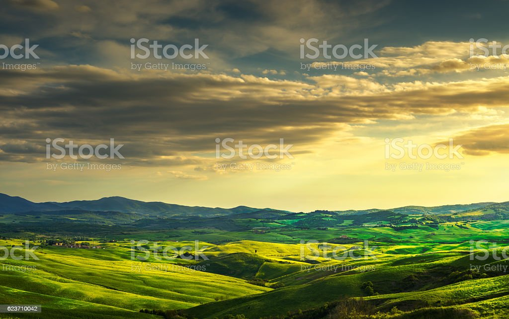 Tuscany spring, rolling hills and green fields on sunset. Rural stock photo