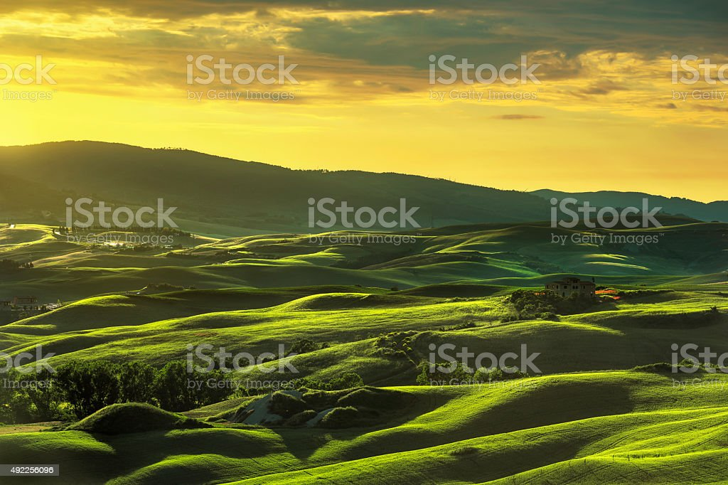 Tuscany spring, rolling hills on sunset. Rural landscape. Green stock photo