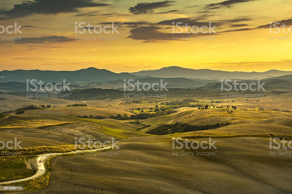 Tuscany spring, rolling hills, rural, road  green fields on s stock photo