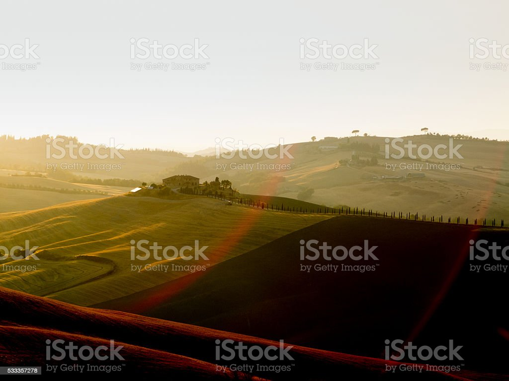 Tuscany Sunset in Val d'Orcia stock photo