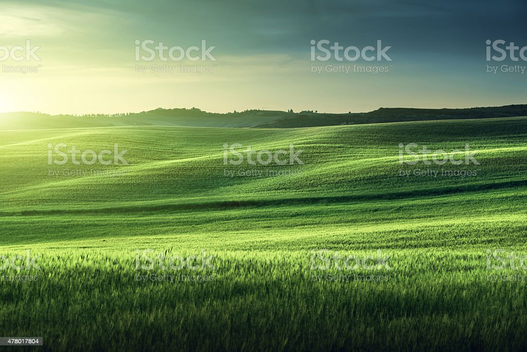 tuscany sunset, Italy stock photo