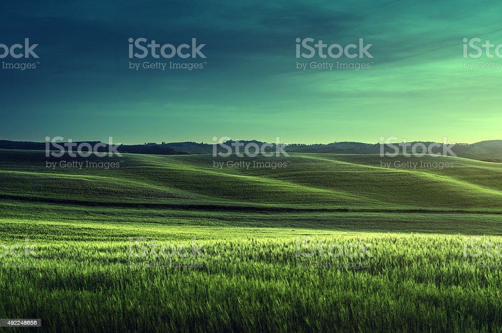 tuscany sunset, Italy stock photo