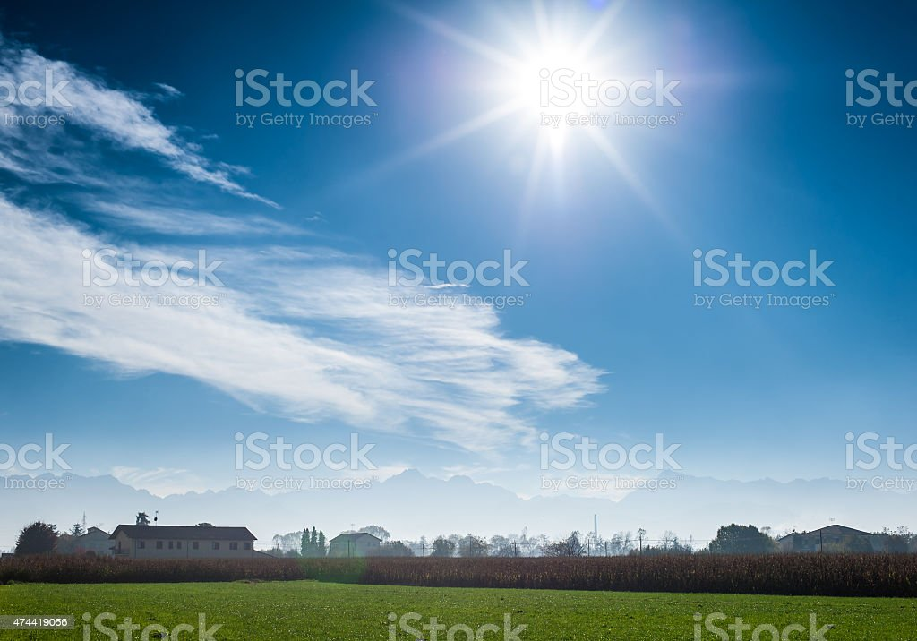 Tuscany - typical scenic landscape, Italy. Sky and subeams. Western stock photo