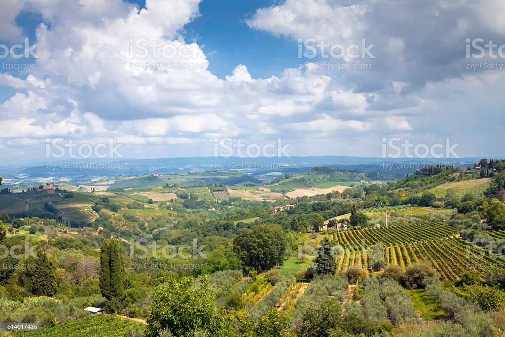 Tuscany, Val d'Elsa panorama. Color image stock photo