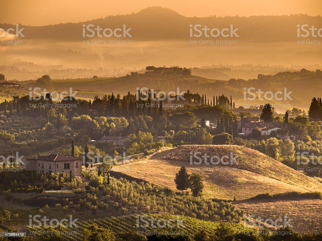 Tuscany Village landscape Scene near Volterra stock photo