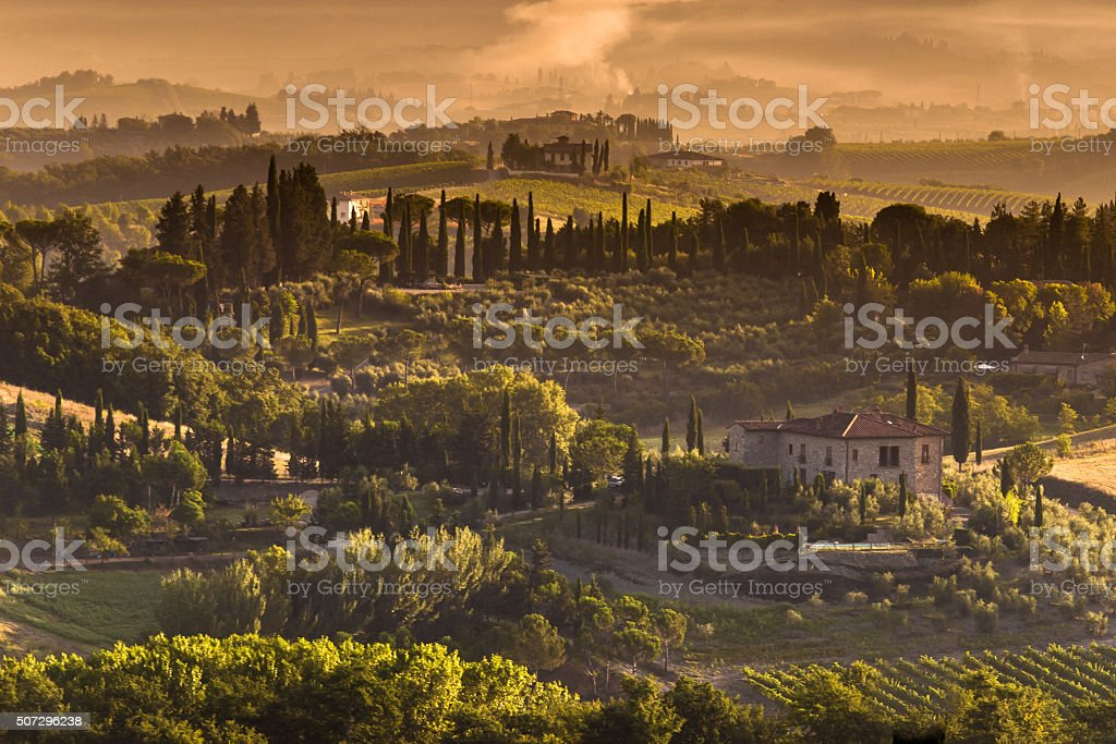 Tuscany Village landscape Scenery on a foggy morning stock photo