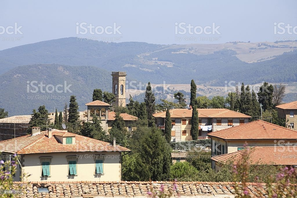 Tuscany Volterra Roofs in Summer royalty-free stock photo