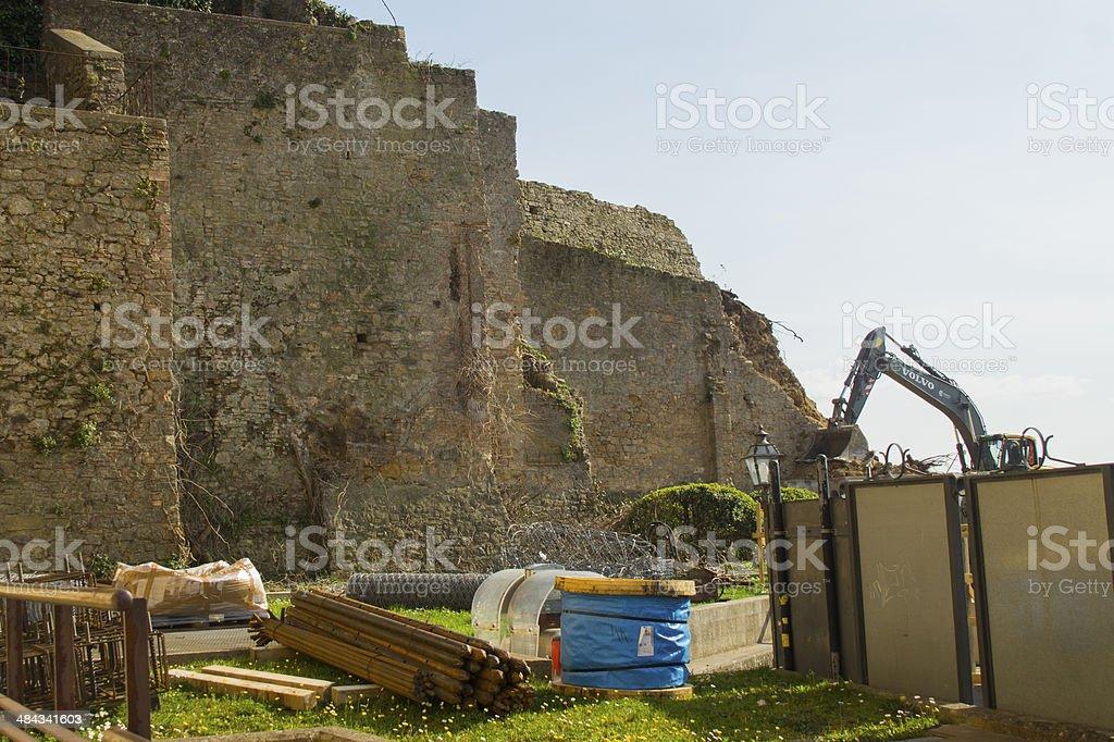 Tuscany, Volterra Walls destroyed stock photo