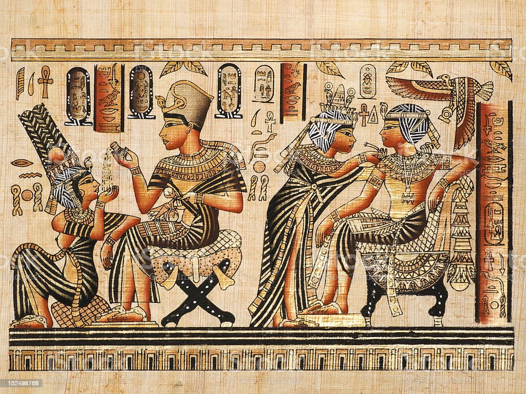 Tutankhamen and his wife Anhksenamon stock photo