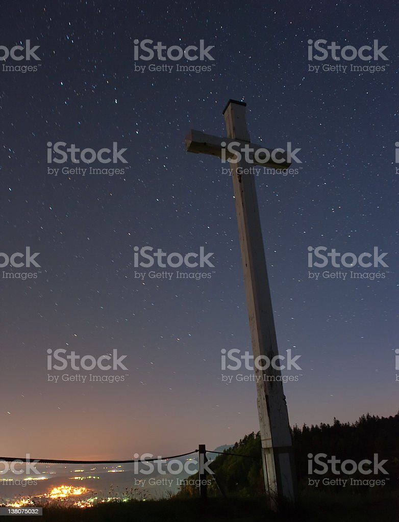 TUT,Gosheim,Mountain cross, with many stars in the background stock photo