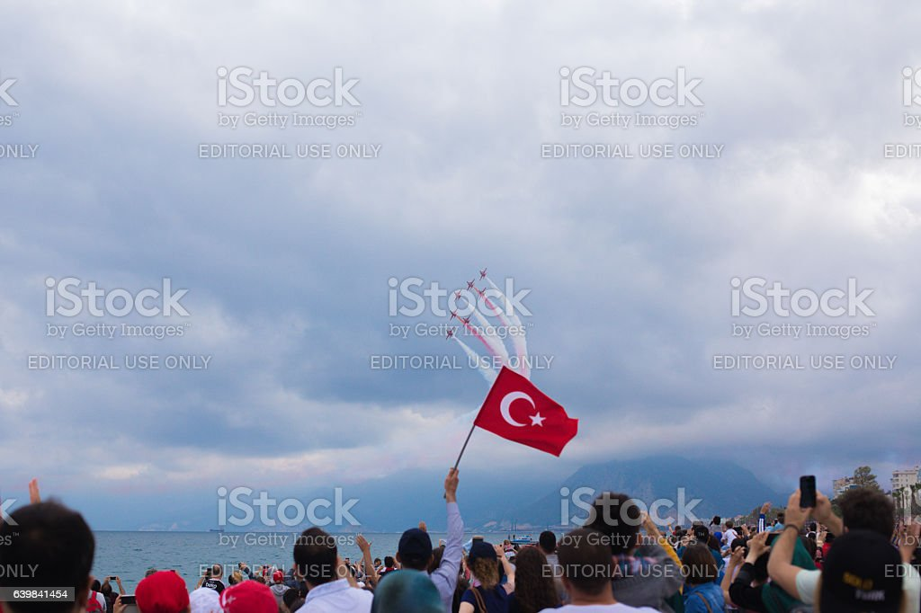 Tutkish fighter planes in airshow stock photo