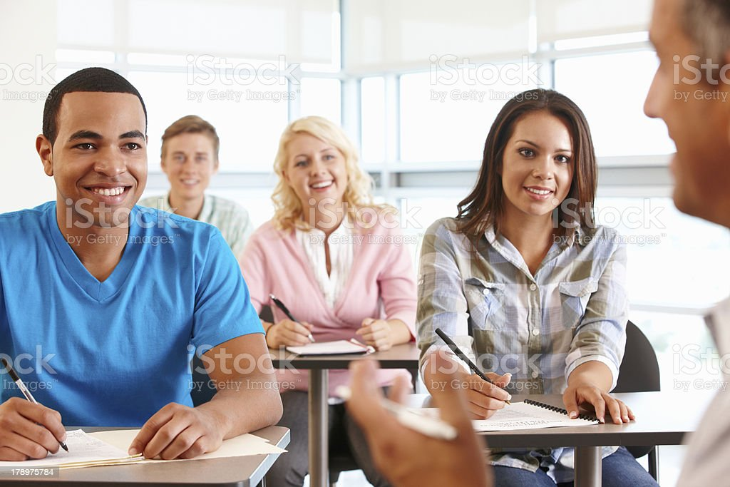 Tutor with class of students royalty-free stock photo