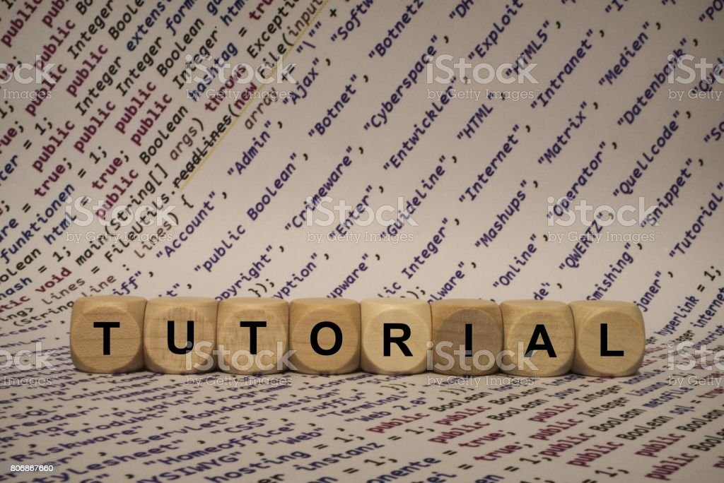 tutorial - cube with letters and words from the computer, software, internet categories, wooden cubes stock photo