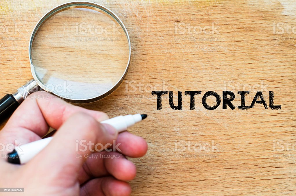 Tutorial text concept stock photo