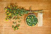 Tutsan. Dried. Herbal medicine, phytotherapy medicinal herbs.