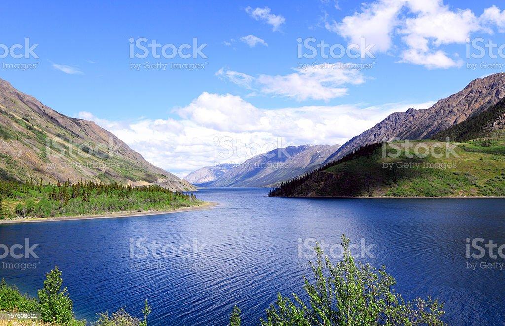 Tutshi Lake and Mountains stock photo