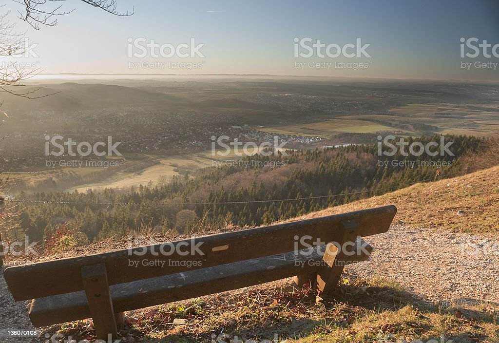 Tut,Spaichingen, Viewpoint with a bench stock photo