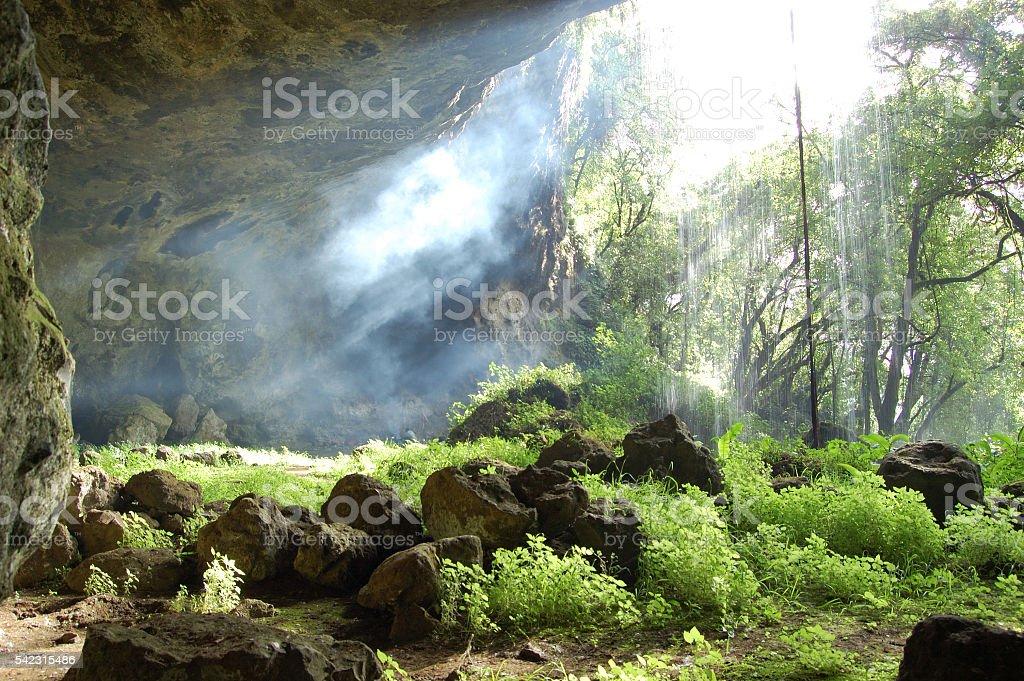 Tutum Cave with waterfall, Sipi trail, Mount Elgon, Uganda stock photo