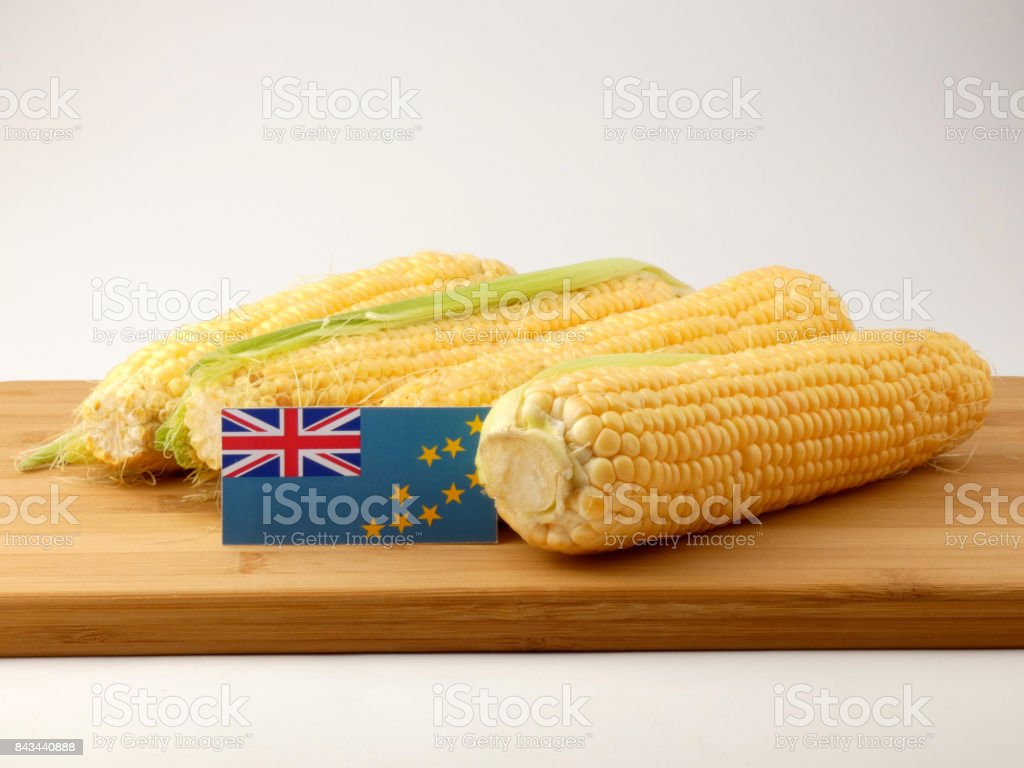 Tuvalu flag on a wooden panel with corn isolated on a white background stock photo