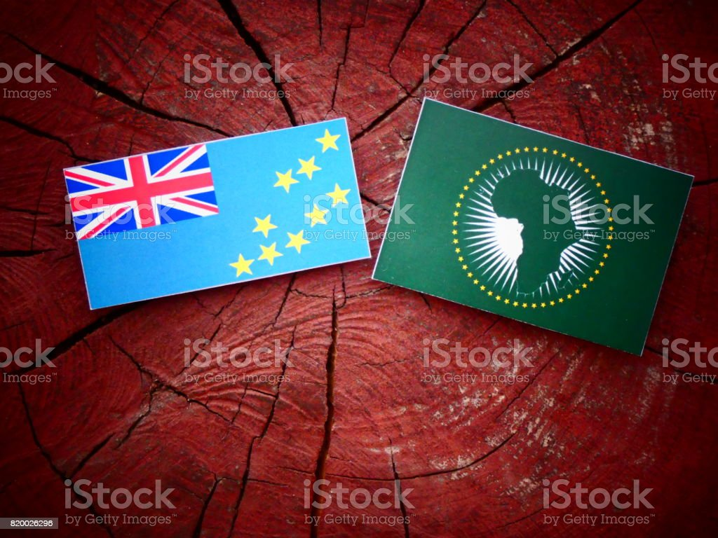 Tuvalu flag with African Union flag on a tree stump isolated stock photo