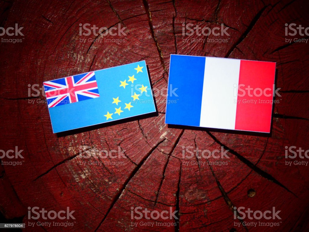 Tuvalu flag with French flag on a tree stump isolated stock photo