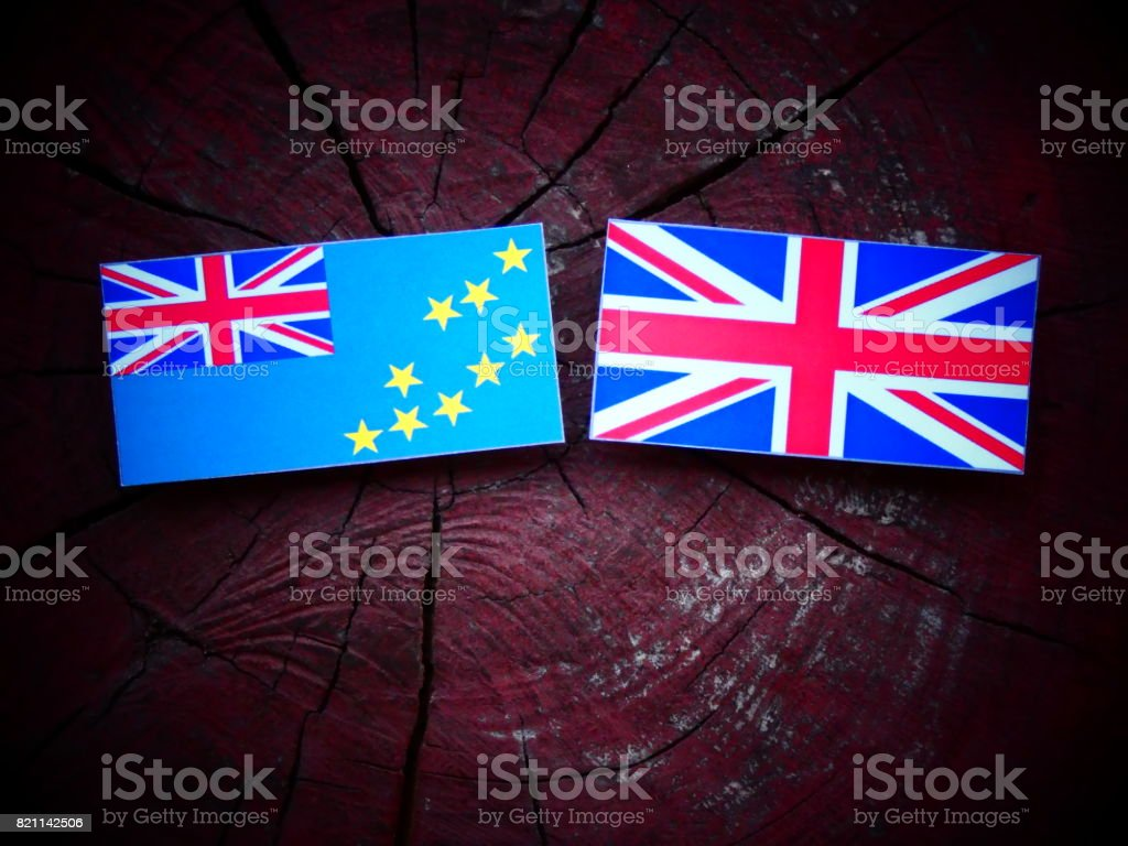 Tuvalu flag with UK flag on a tree stump isolated stock photo