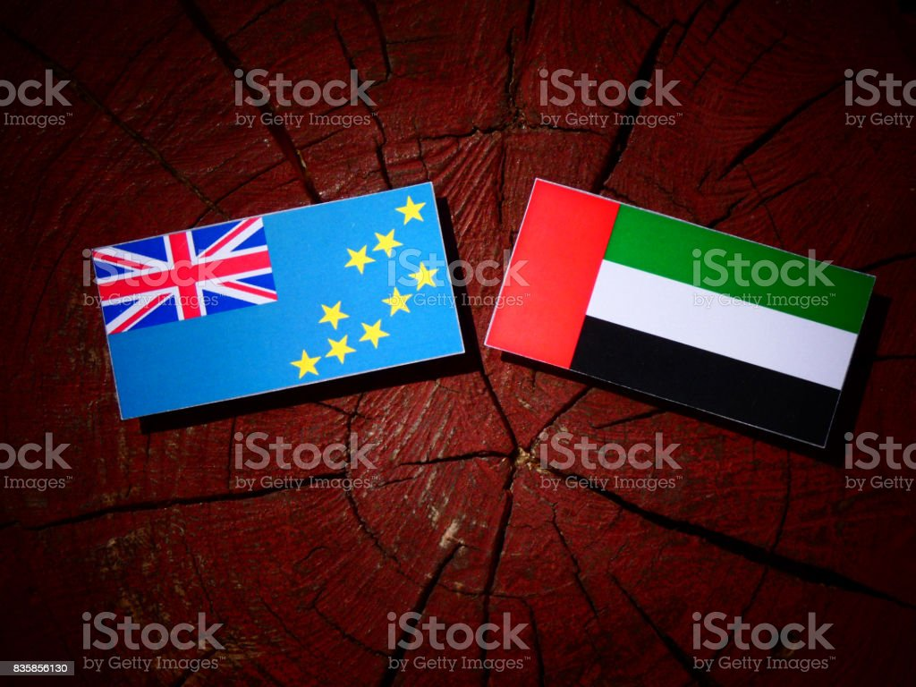 Tuvalu flag with United Arab Emirates flag on a tree stump isolated stock photo