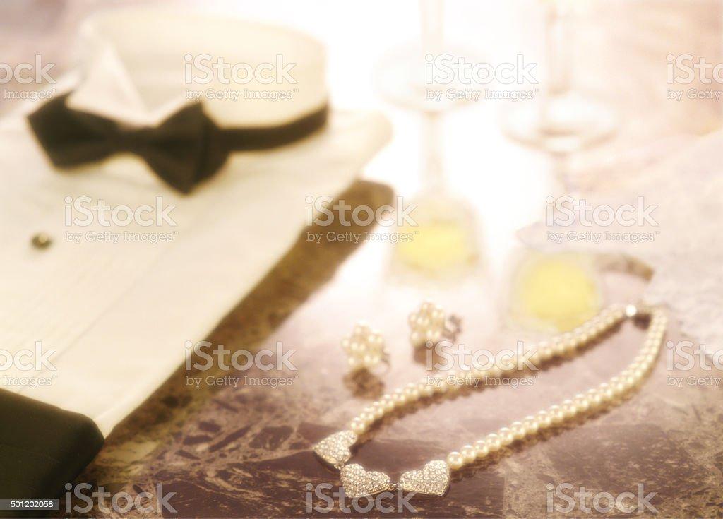 tuxedo and necklace stock photo