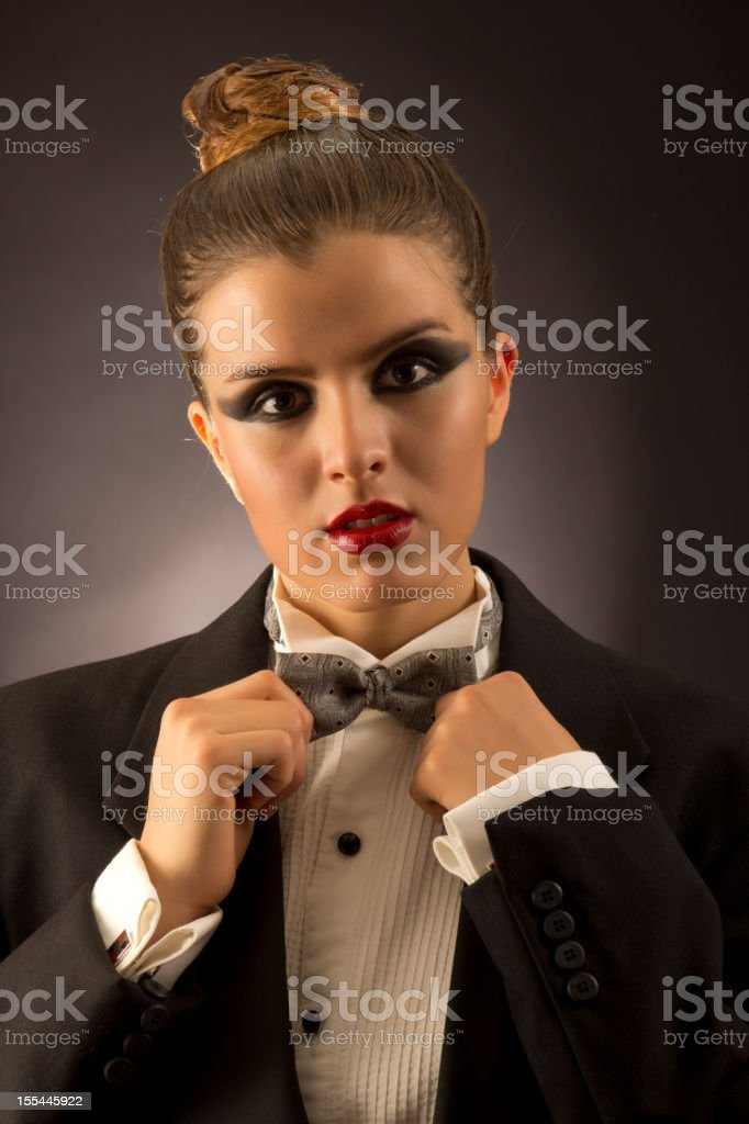 Tuxedo girl stock photo