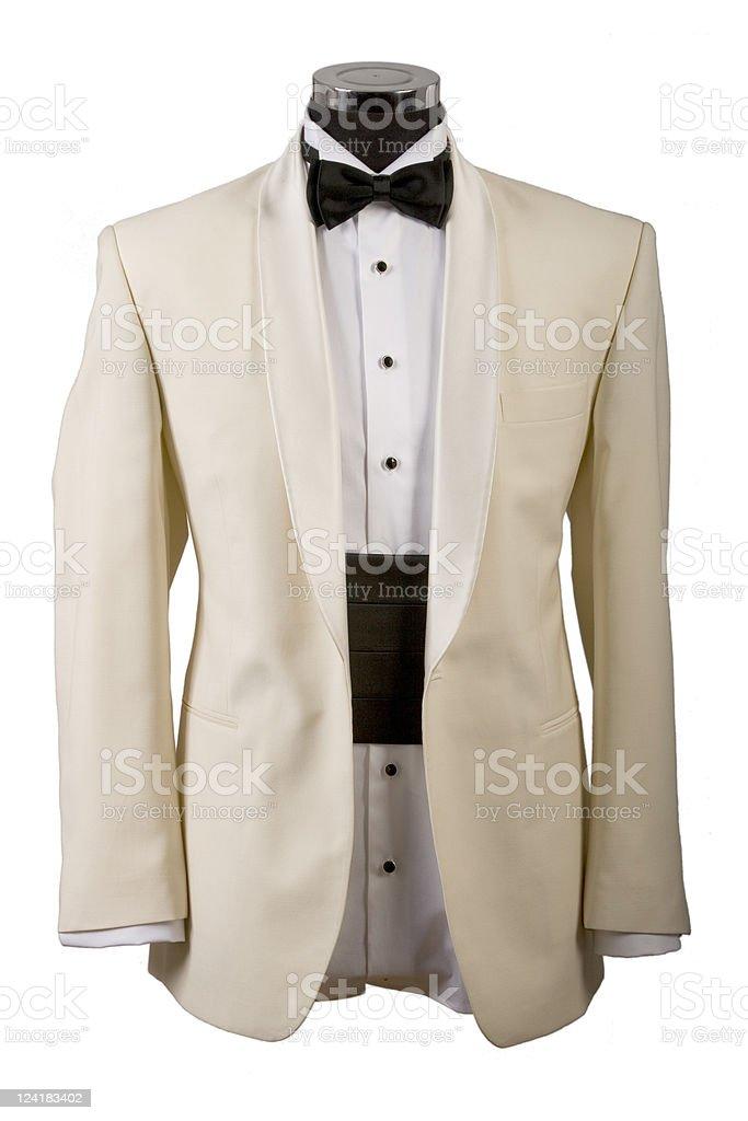 tuxedo, white shirt and black bow tie royalty-free stock photo
