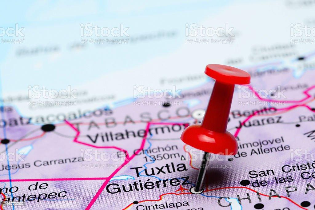 Tuxtla Gutierrez pinned on a map of Mexico stock photo