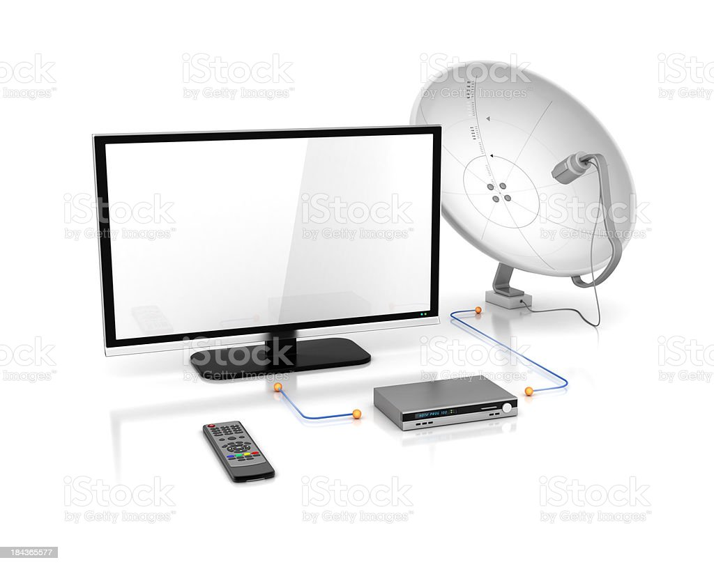 tv and satellite dish with receiver stock photo