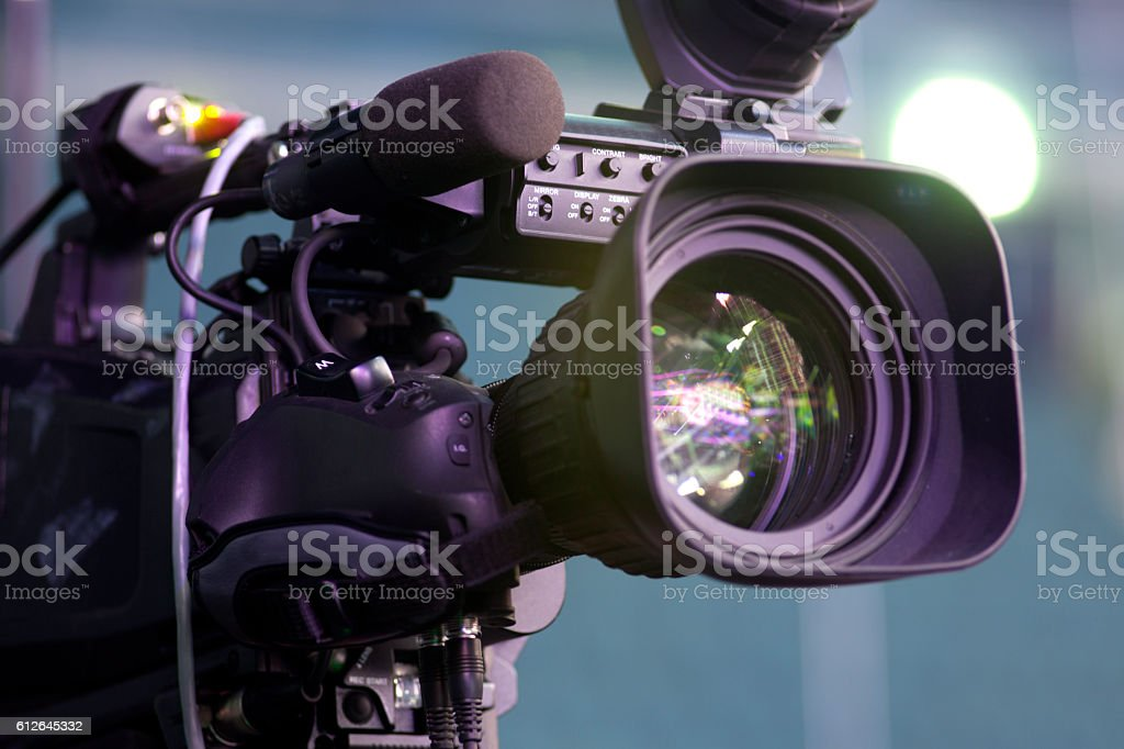 tv camera in a concert hall stock photo