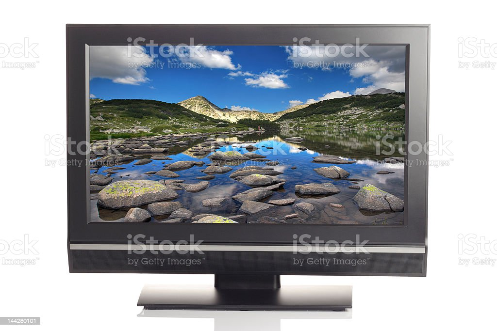 LCD tv displaying a beautiful picture royalty-free stock photo