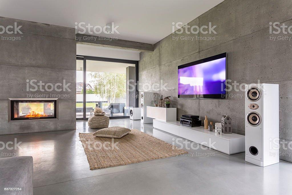 Tv living room with window stock photo