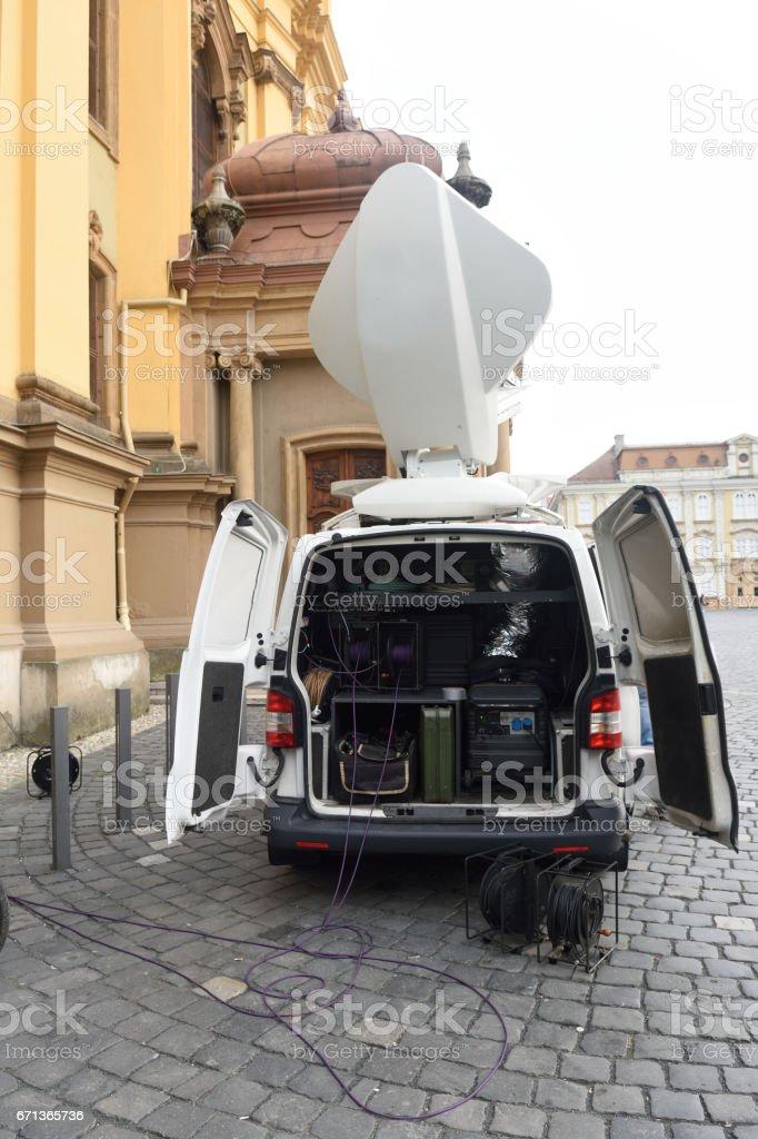 Tv movil van stock photo