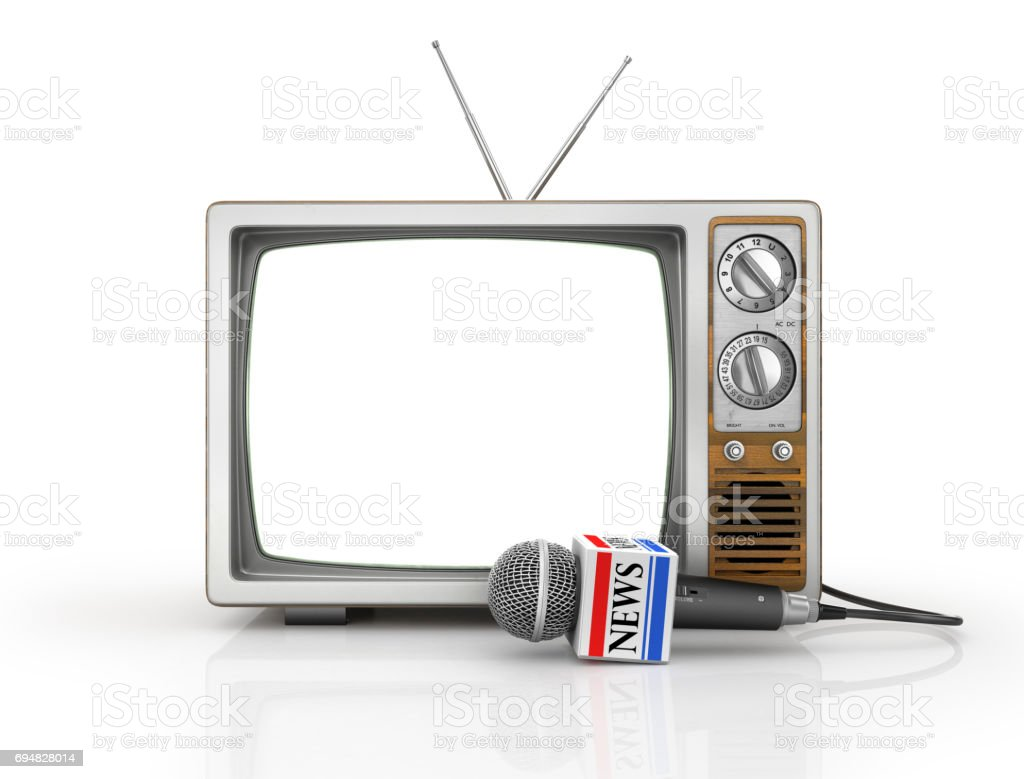 Tv news or reportage concept. Microphone due to old TV on a white background. Microphone and television. 3d illustration stock photo