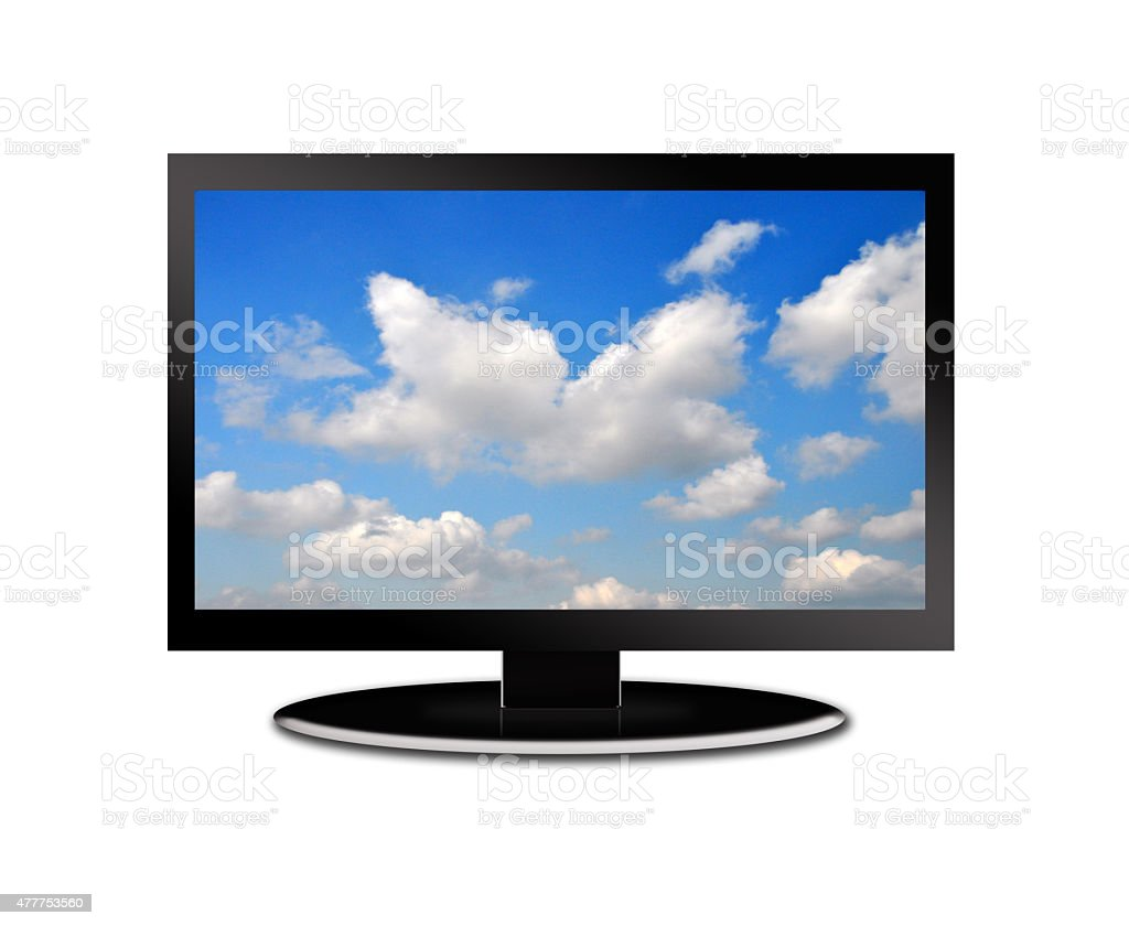 LCD tv screen on a white background stock photo