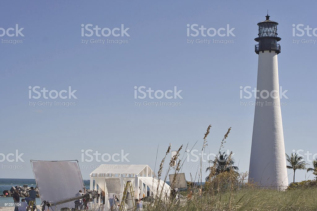 Tv set next to the lighthouse on key biscayne stock photo