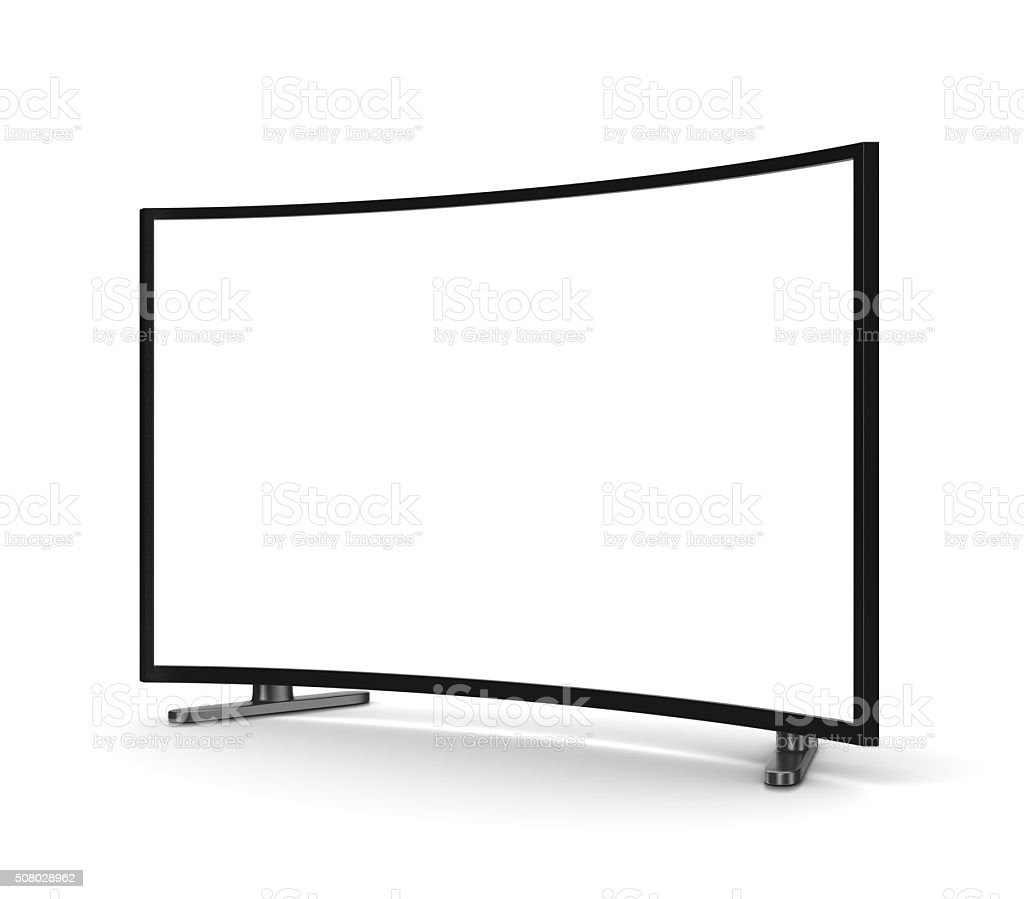 Tv Set with Blank Curved Screen stock photo
