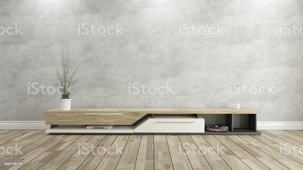 tv stand with concrete wall 3d design rendering stock photo