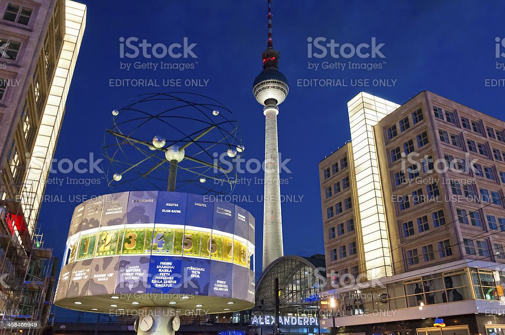 Tv tower and world clock night view in Berlin royalty-free stock photo