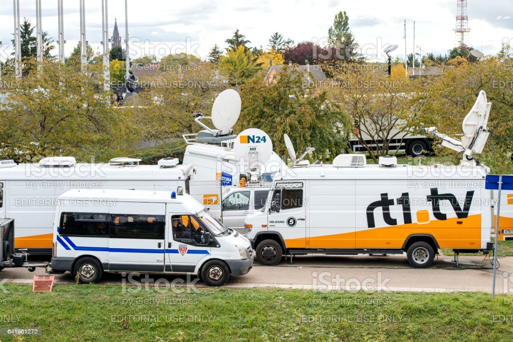Tv Truck with satellite parabolic antenna frm N24 channel stock photo