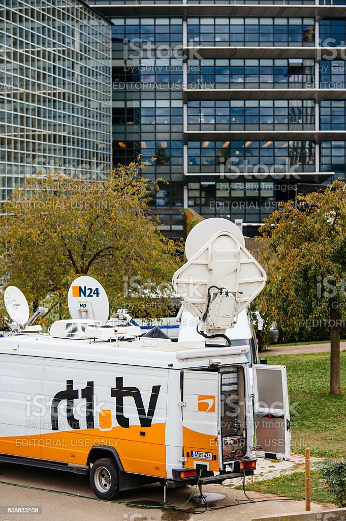 Tv Truck with satellite parabolic antenna from N24 channel stock photo