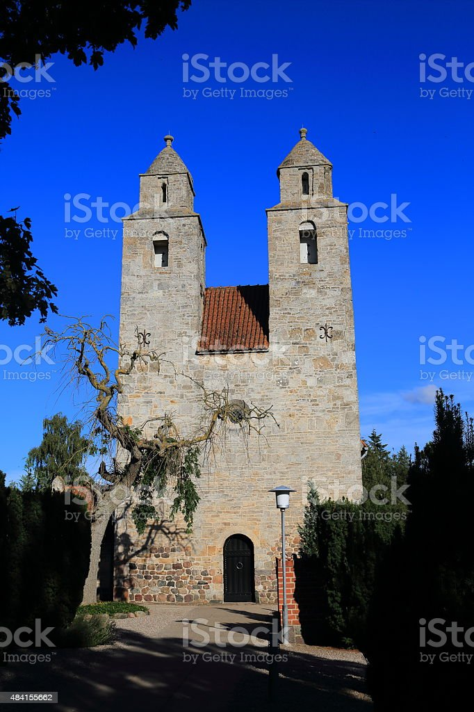 Tveje Merl?se Kirke - twin tower parish church stock photo