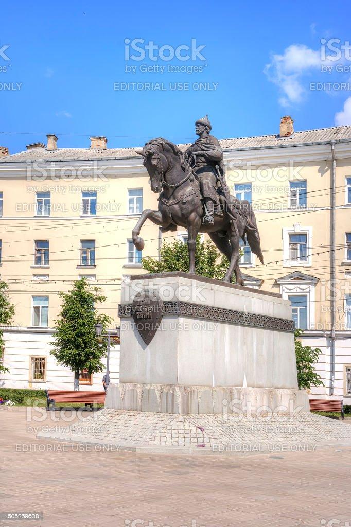 Tver. Municipal landscape. Monument to the prince Mikhail stock photo