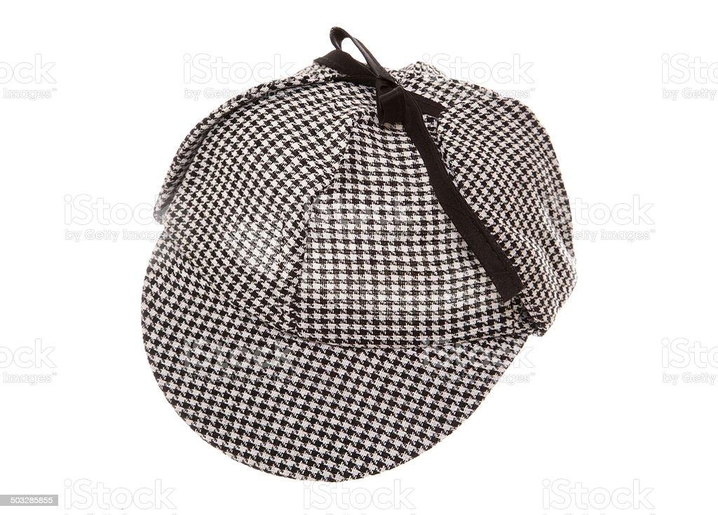 tweed deerstalker hat stock photo