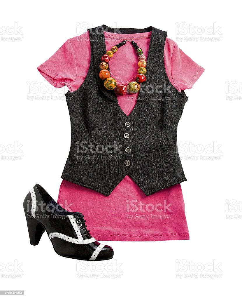 Tweed vest pink styling fashion composition royalty-free stock photo