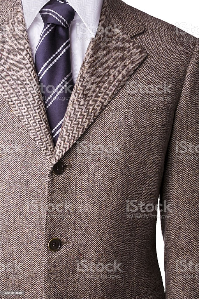 Tweed Wool blazer, shirt and tie with windsor knot royalty-free stock photo