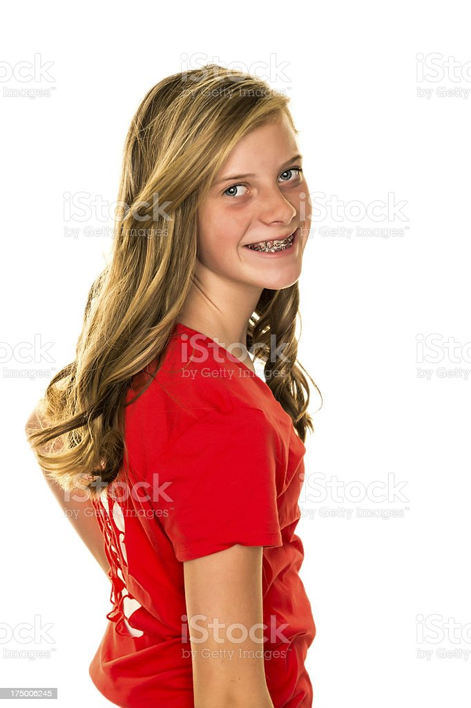 Tween Girl on White Background royalty-free stock photo
